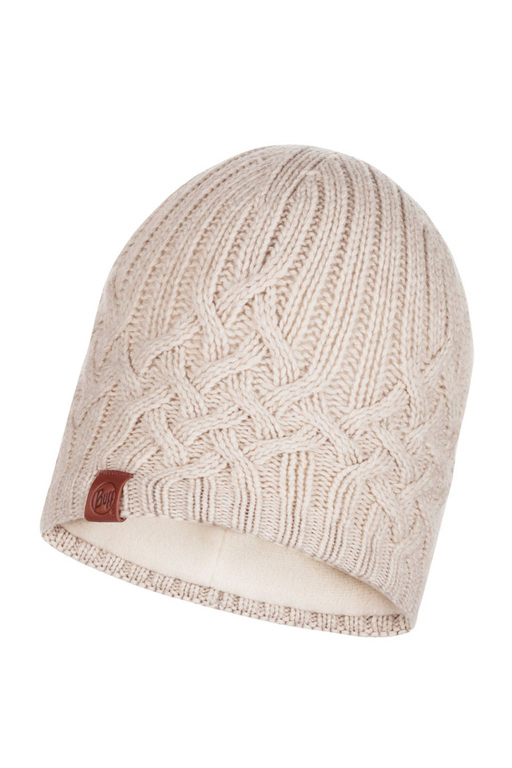 Buff muts Knitted & Polar wit, Wit