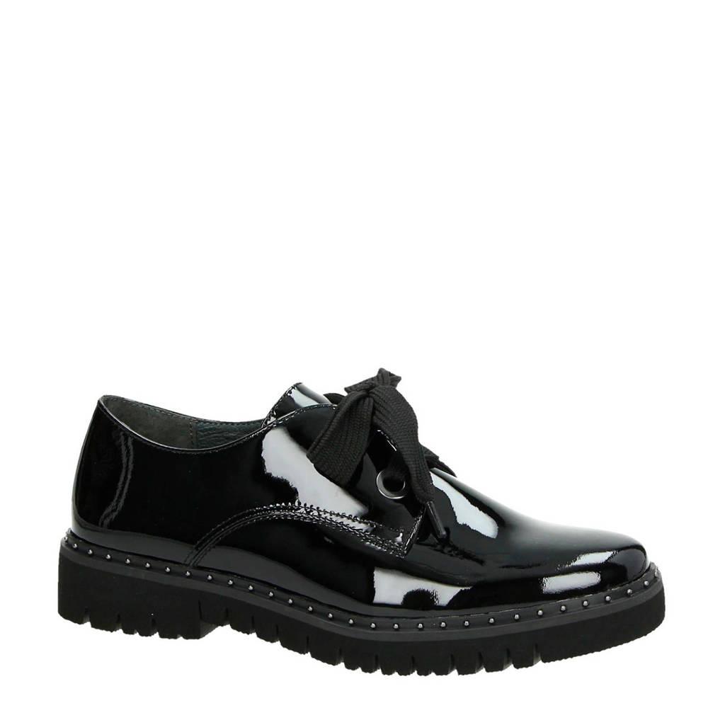 Gabor lakleren veterschoenen zwart, Zwart