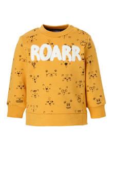 Baby Club sweater met dierenprint oker