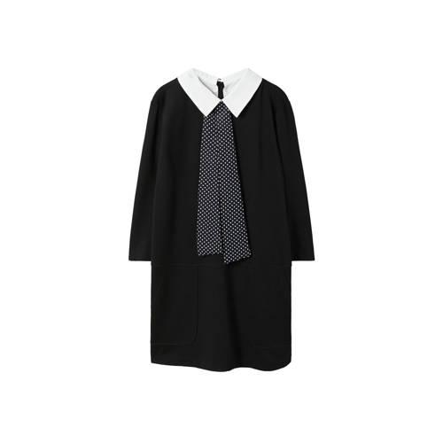 Violeta by Mango jurk met afneembare blousekraag zwart