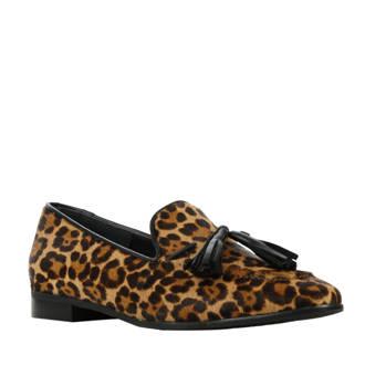 loafers met luipaardprint bruin