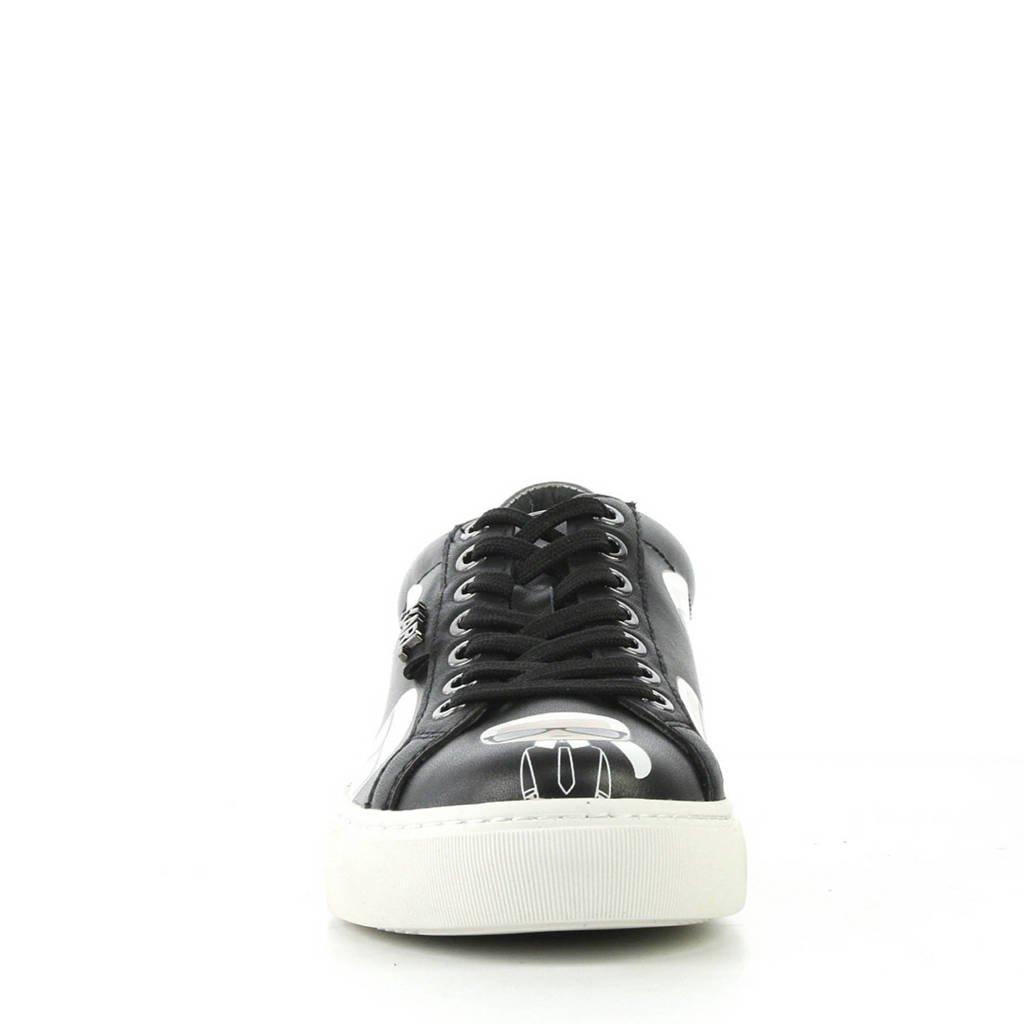 Karl Lagerfeld leren sneakers zwart, Zwart/wit
