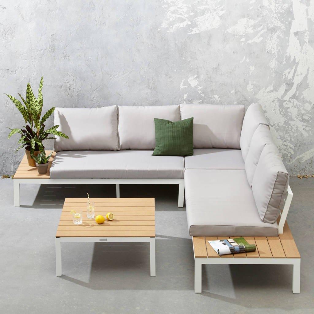 Exotan loungeset La Vida (hout ), Lichtgrijs/wit/naturel