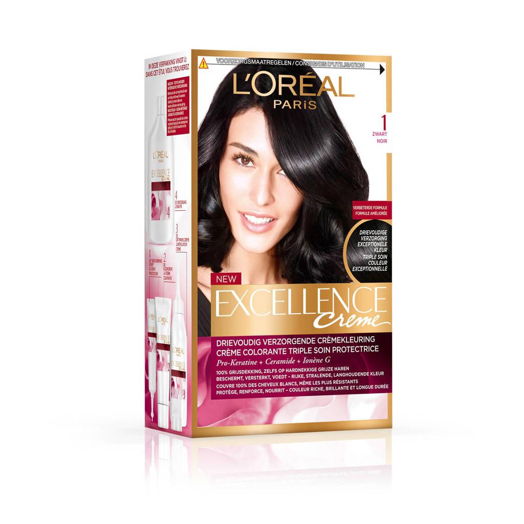 L'Oréal Paris Excellence Crème haarkleuring - 1 Intens Zwart, 1 intens zwart