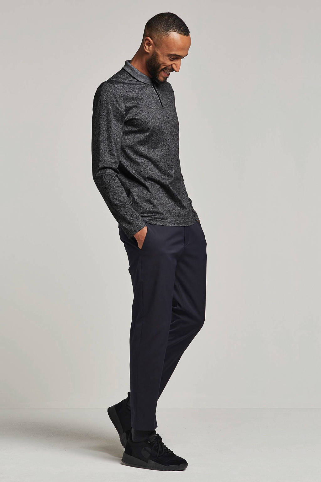 Boss Business slim fit polo, Grijs