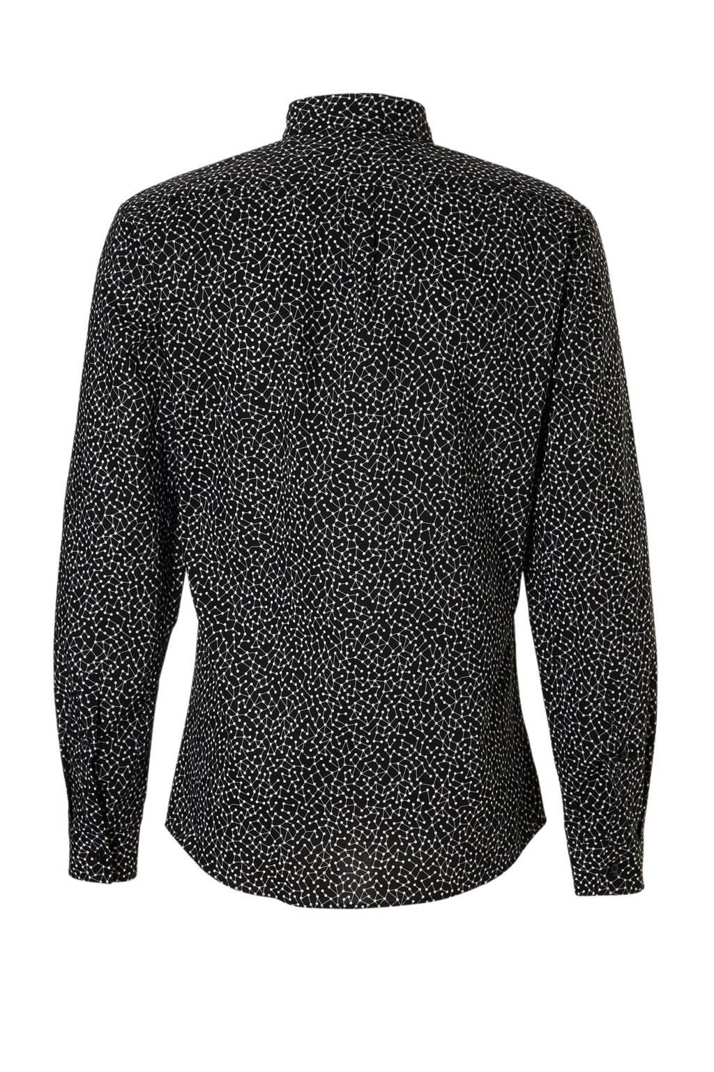 HUGO slim fit overhemd met print zwart, Zwart/wit