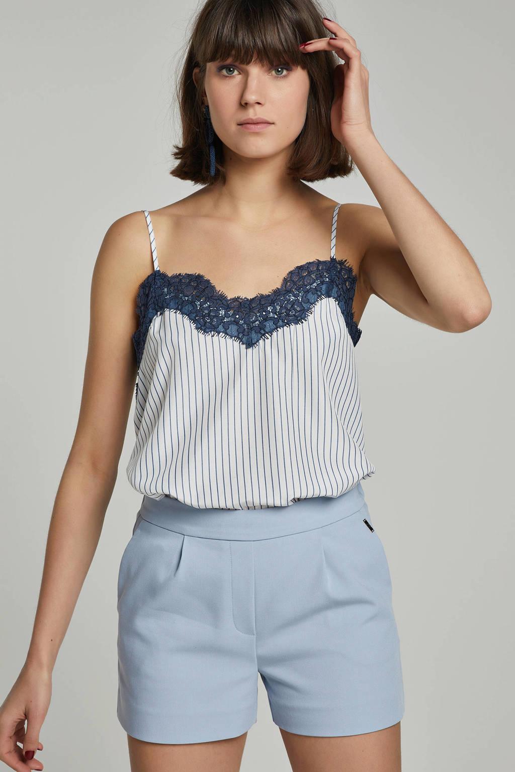 JOSH V Claris top met kant, blauw/ wit