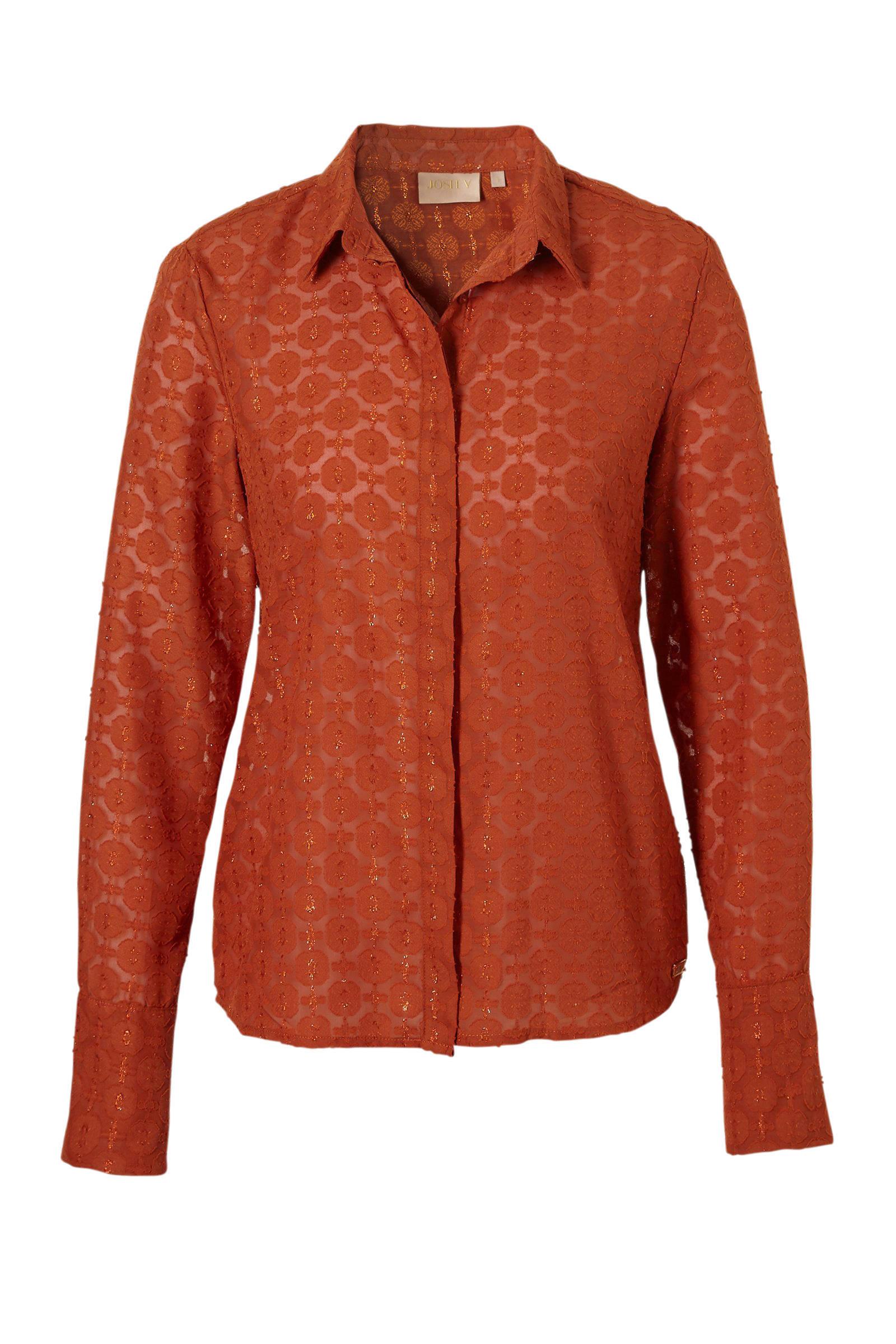 cognac kleurige blouse