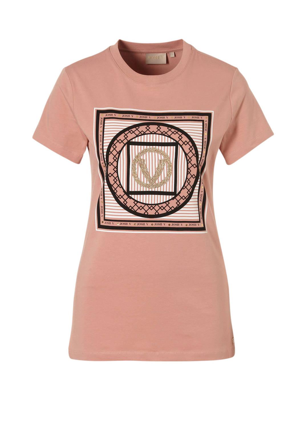 JOSH V T-shirt met logo, Roze/ zwart/ goud
