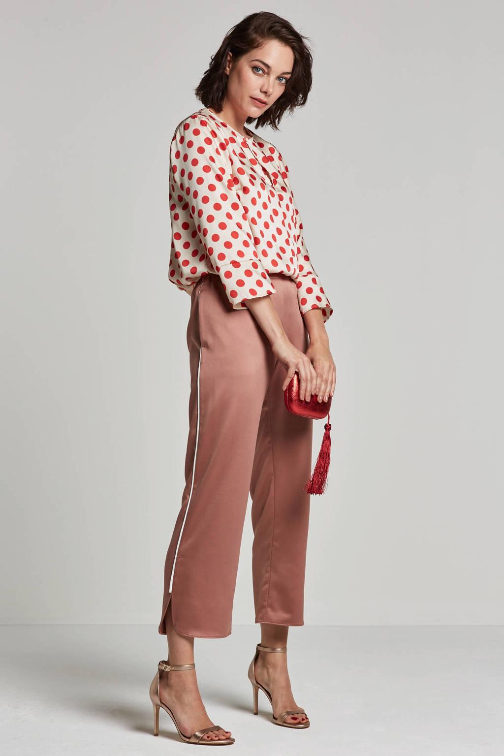 Saint Tropez blouse met stippendessin, Ivoor/rood