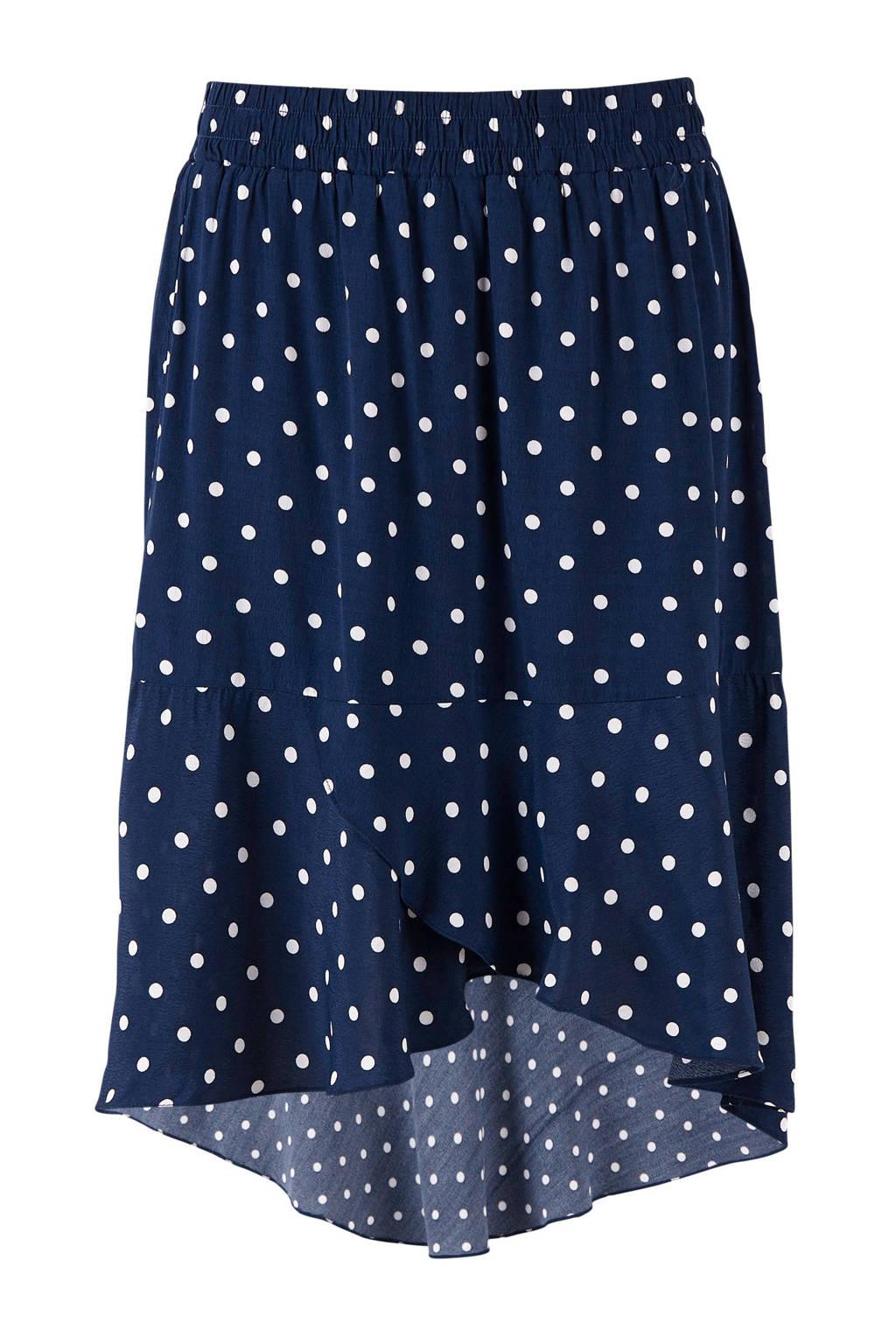 Saint Tropez rok met stippen donkerblauw, Donkerblauw/wit