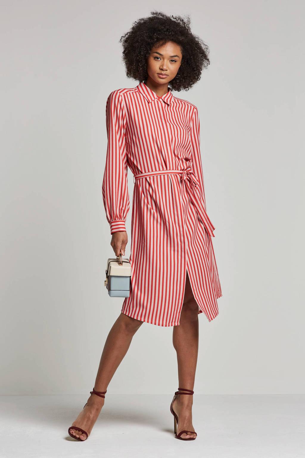 Saint Tropez jurk met streepdessin, Rood/roze