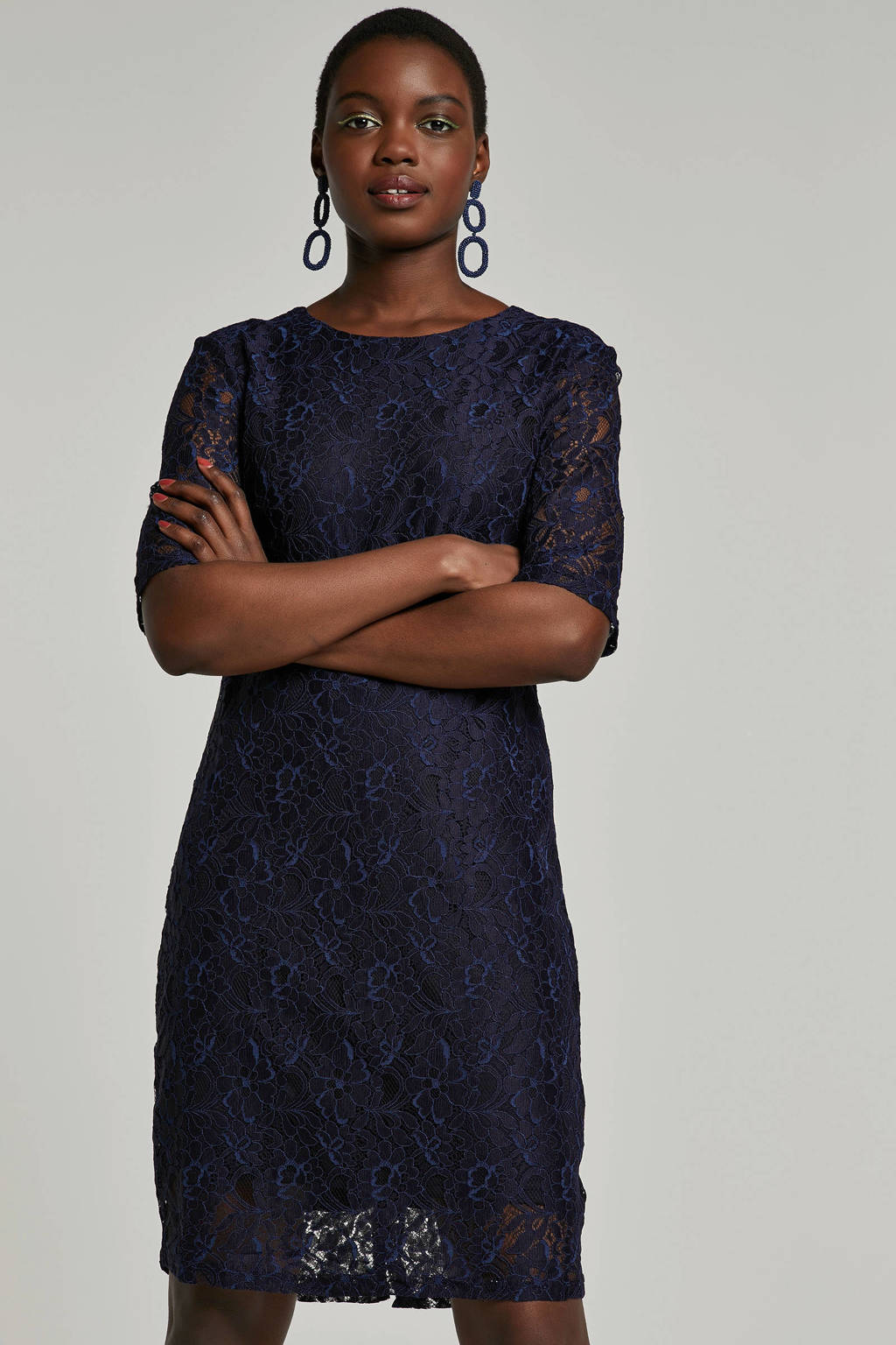 Saint Tropez kanten jurk, Donkerblauw