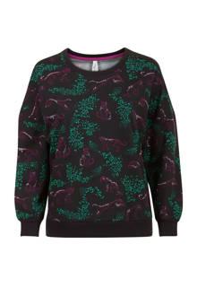 Lang sweater luipaardprint zwart