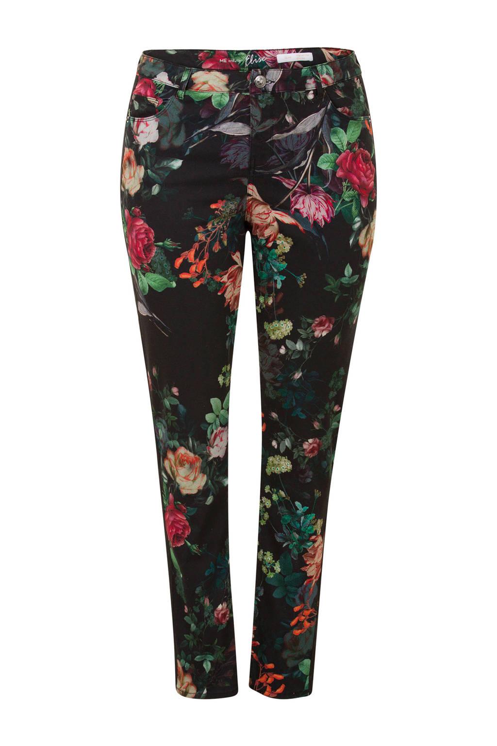 Miss Etam Plus gebloemde slim fit broek zwart, Zwart/multi