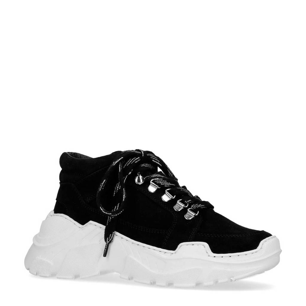 Sacha  suède chunky sneakers zwart, Zwart