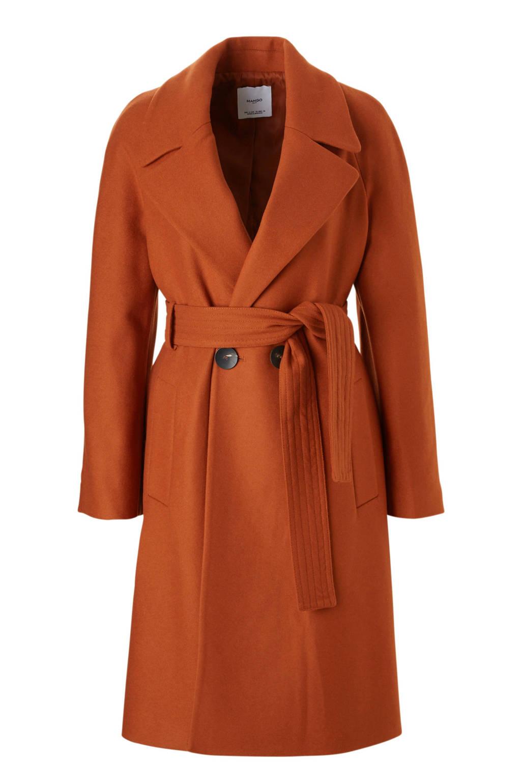 Mango coat met wol oranje, Oranje
