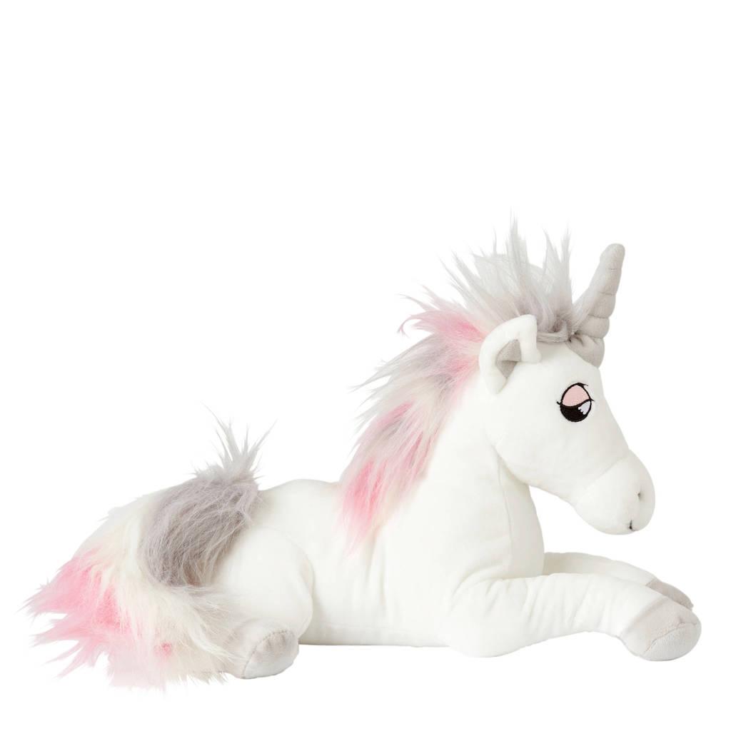 Efteling Pardoes eenhoorn Zilverglans knuffel 34 cm, wit/grijs/roze