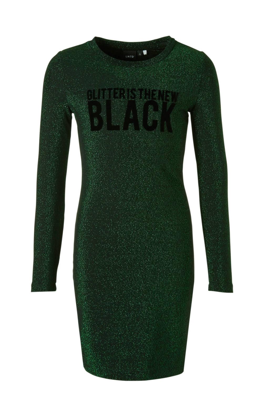 LMTD glitterjurk Siga groen, Groen/zwart