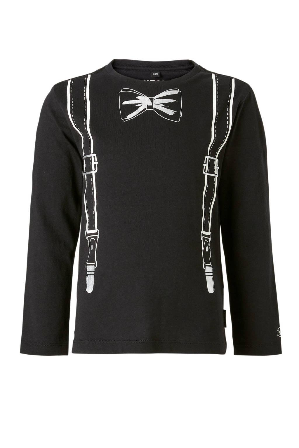 Mitch T-shirt Zipp met lange mouwen, Zwart