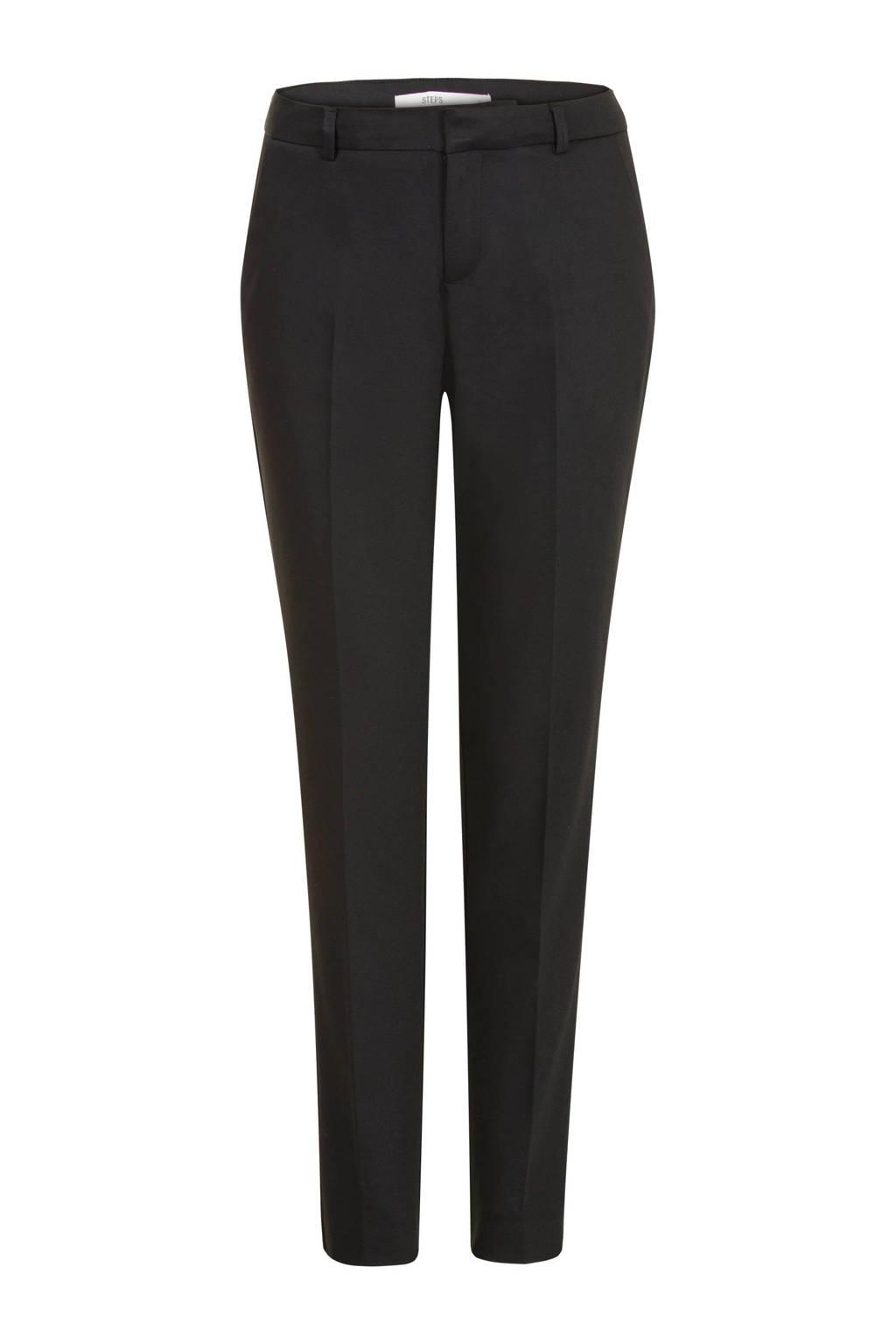 Steps high waist tapered fit pantalon zwart, Zwart