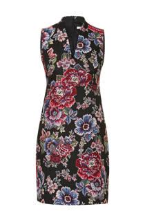 Steps jacquard jurk met bloemen zwart