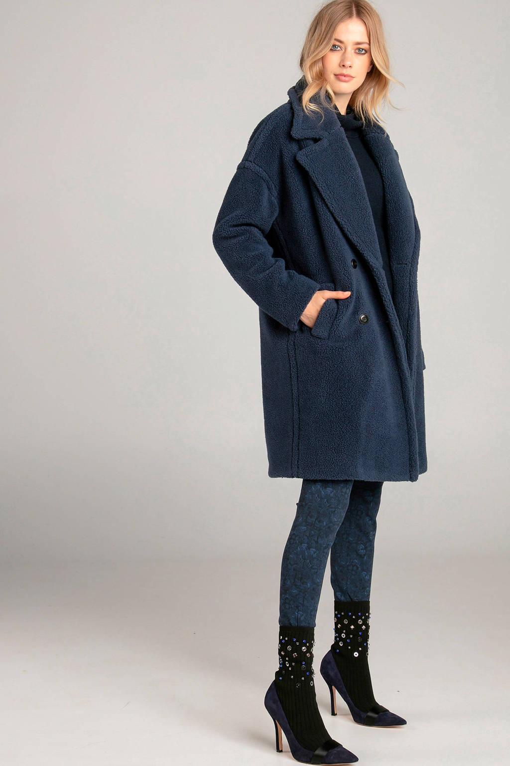 Claudia Sträter gebloemde skinny tregging donkerblauw, Donkerblauw