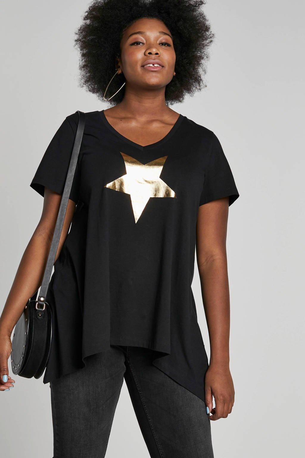 Zizzi T-shirt met opdruk zwart, Zwart/goud