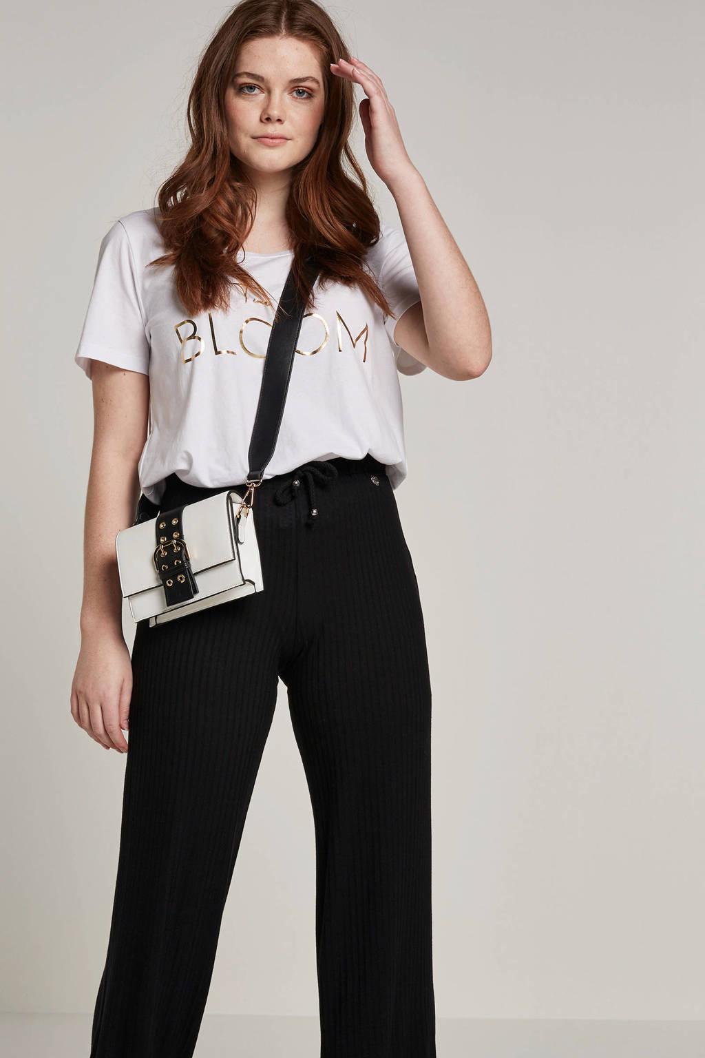 Zizzi T-shirt met tekstopdruk, Wit/zwart