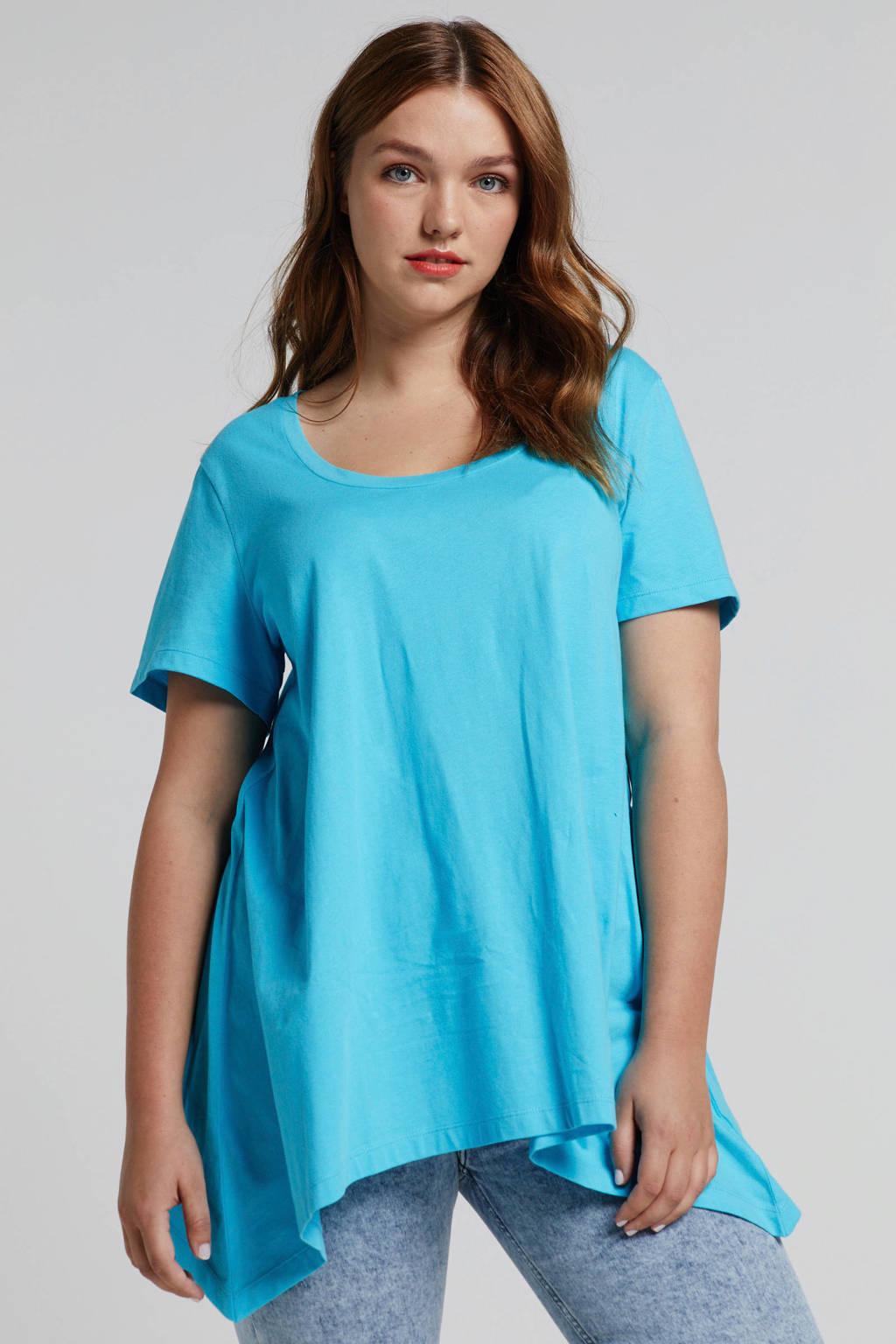 Zizzi Mira T-shirt blauw, Blauw