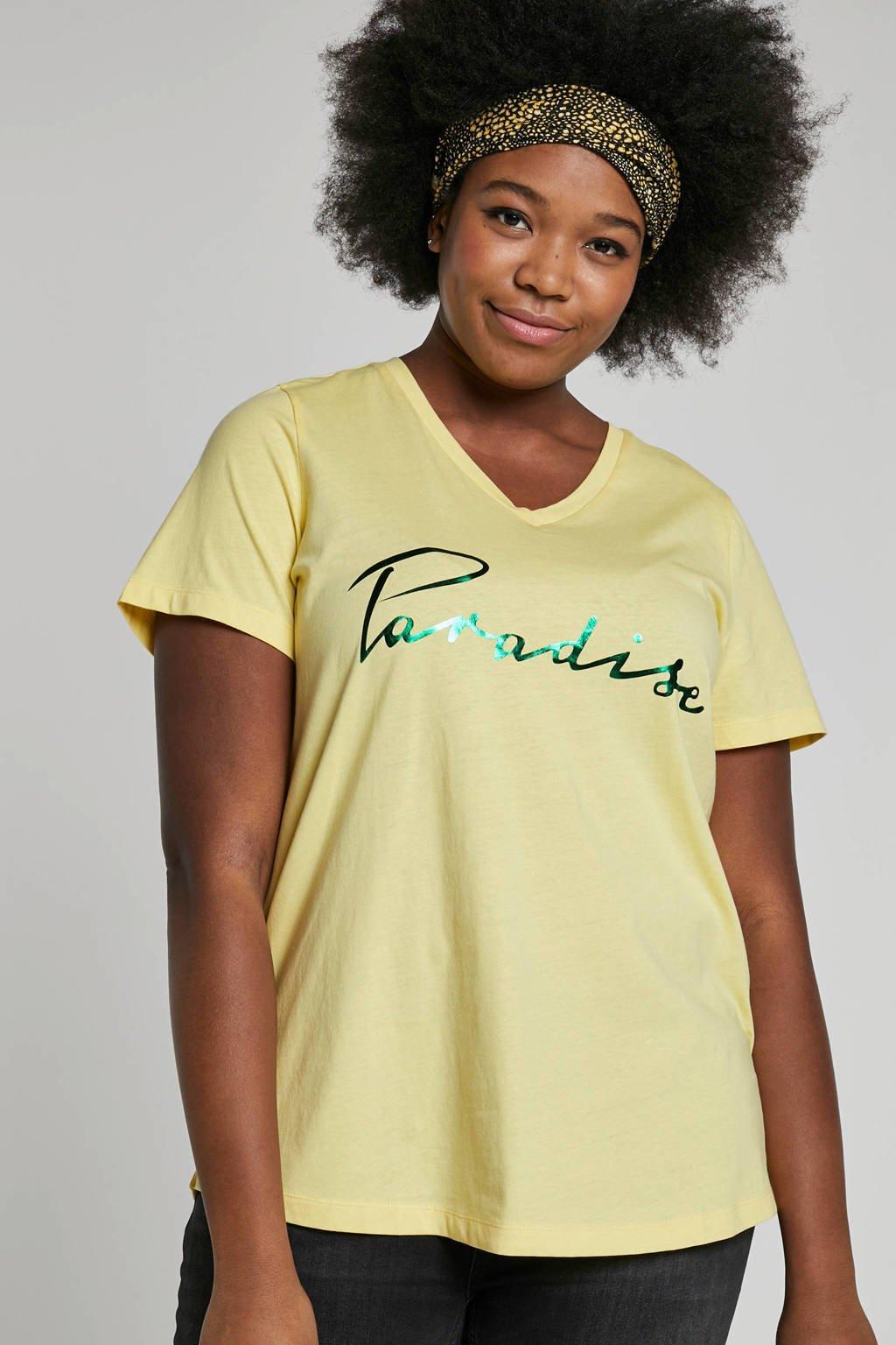 Zizzi t-shirt met printopdruk, Geel/groen