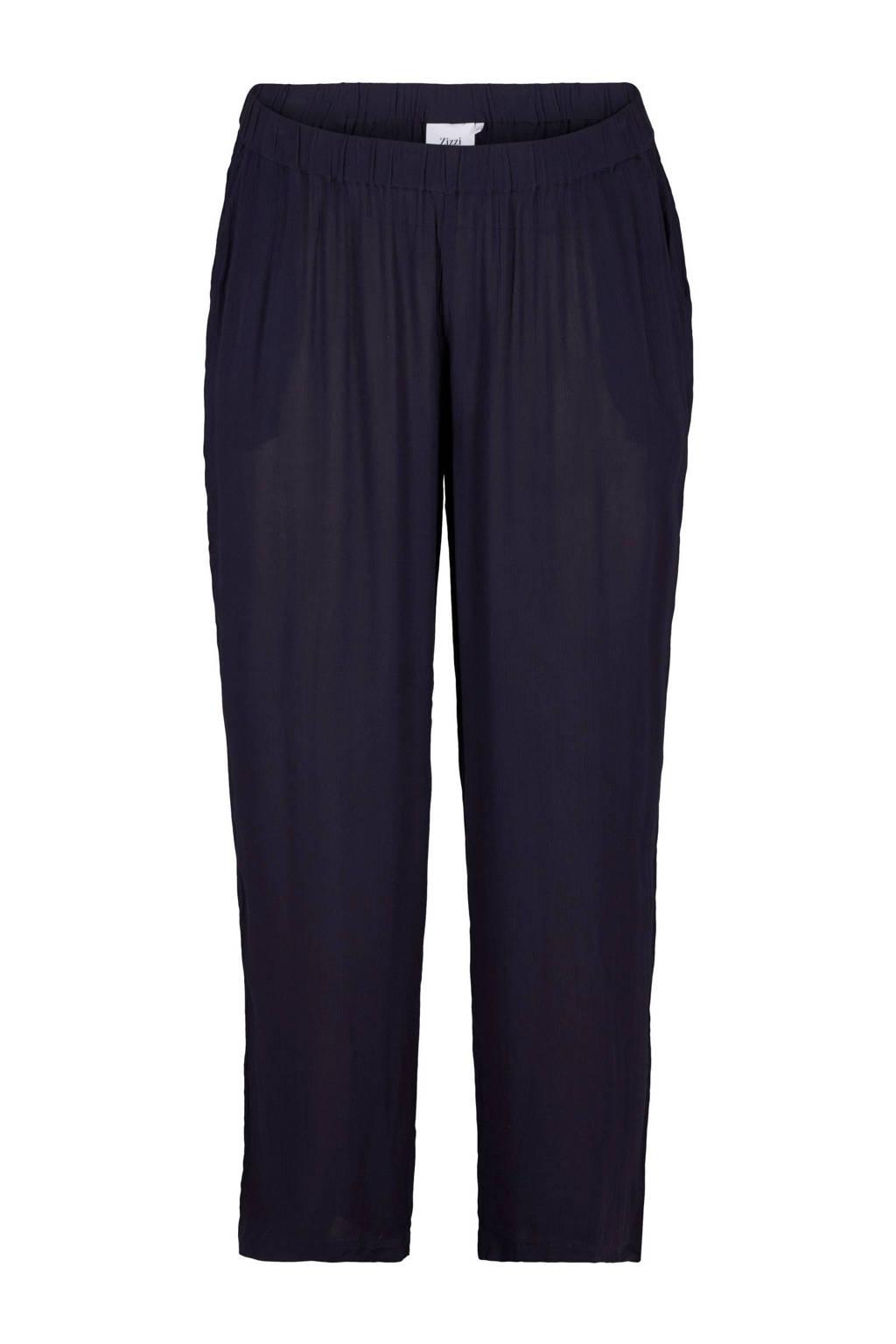 Zizzi loose fit broek donkerblauw, Donkerblauw