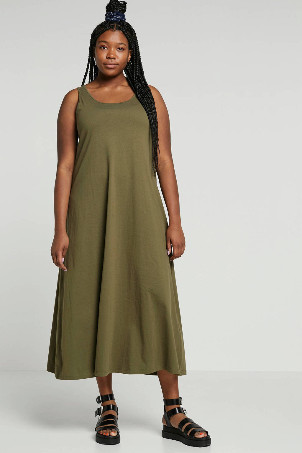 Zizzi jurk Mina groen, Groen