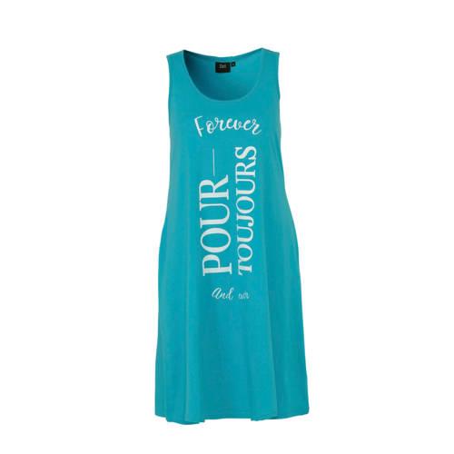 Zizzi jurk met tekstoprduk blauw kopen