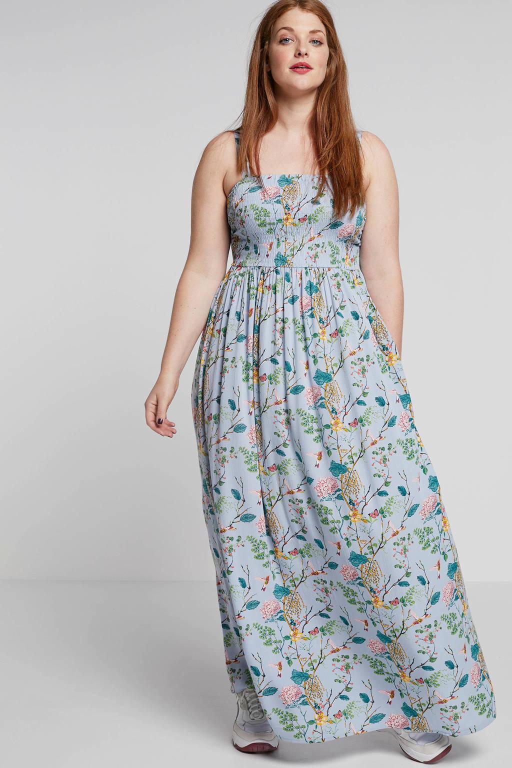 Zizzi jurk met bloemenprint, Blauw multi