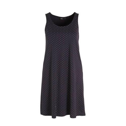 Zizzi jersey jurk met stippen donkerblauw