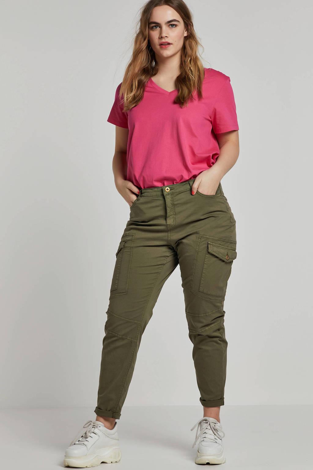 Zizzi Mira T-shirt V-hals, Roze