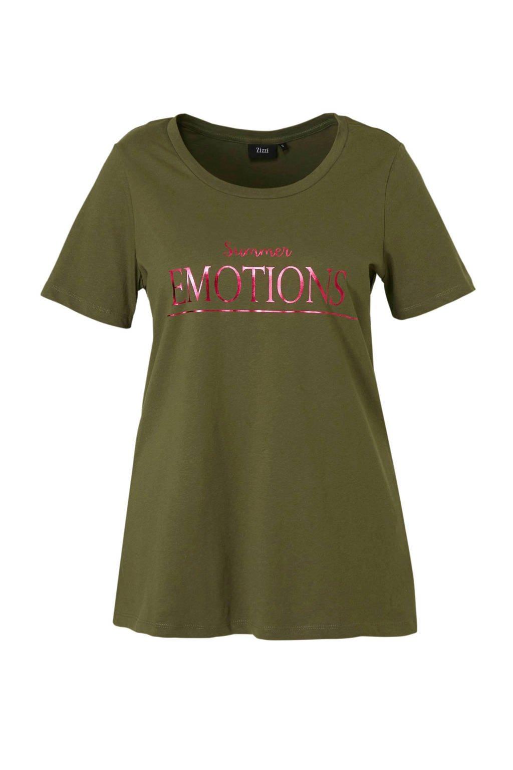 Zizzi T-shirt met tekst, Groen/ roze