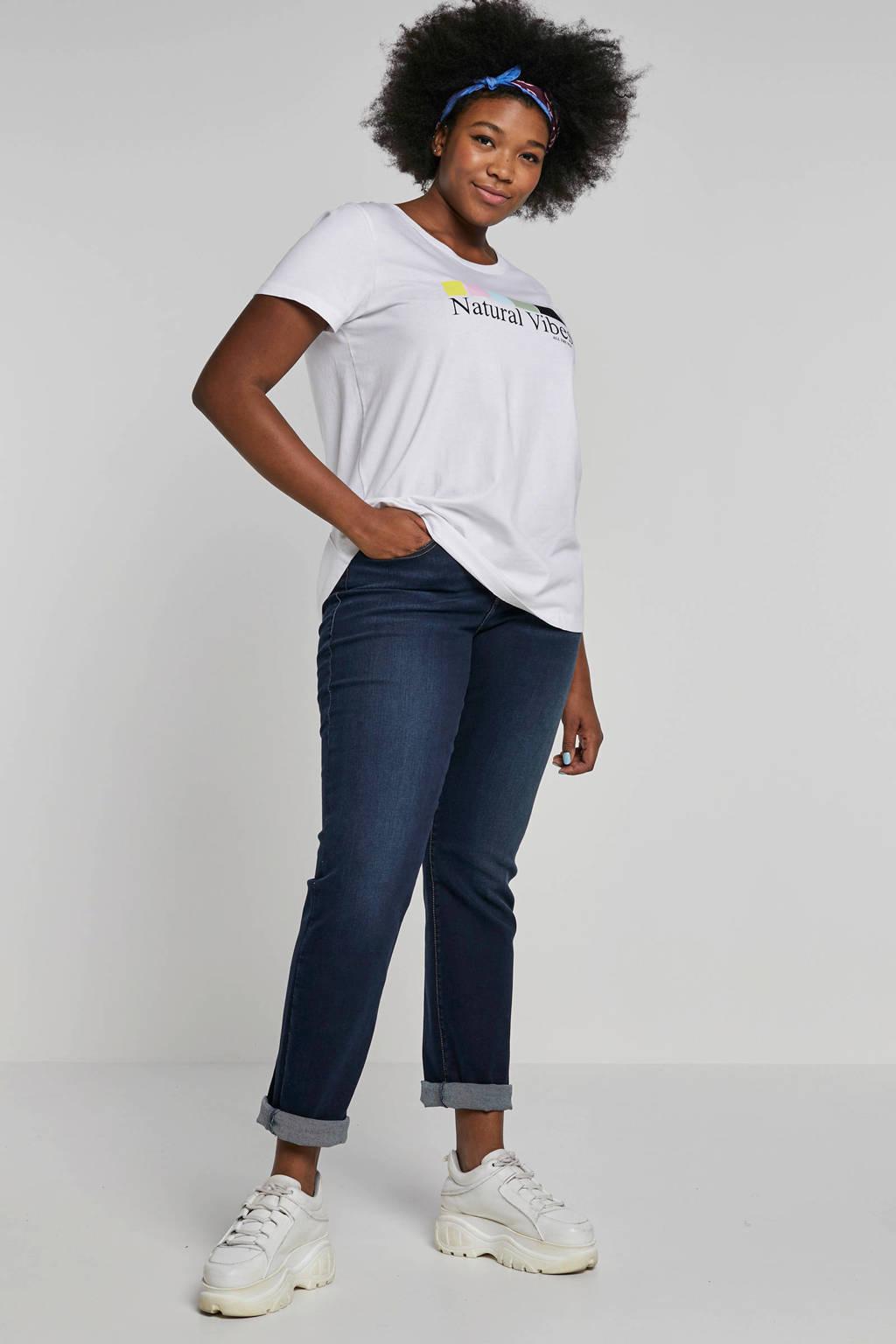 Zizzi T-shirt met tekstopdruk wit, Wit