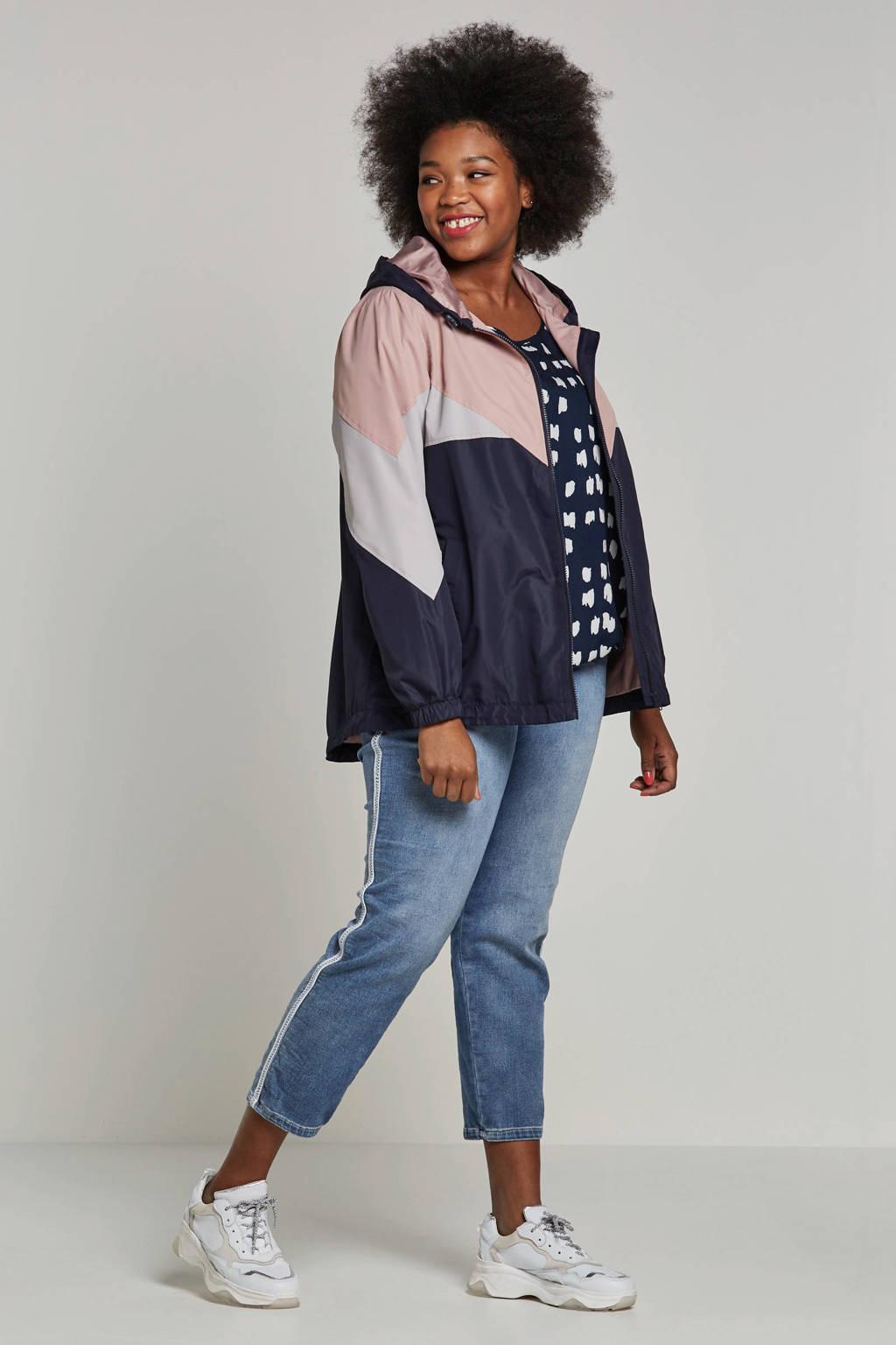 Zizzi jas met kleurvlakken, Roze/donkerblauw