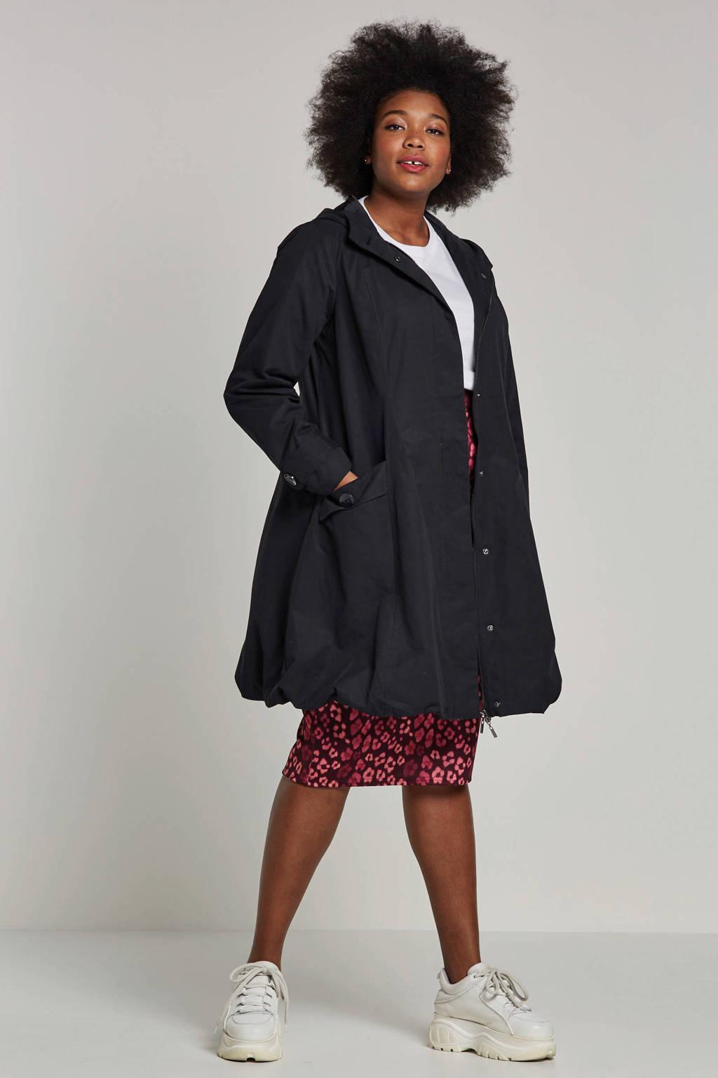Zizzi jas met capuchon zwart, Zwart