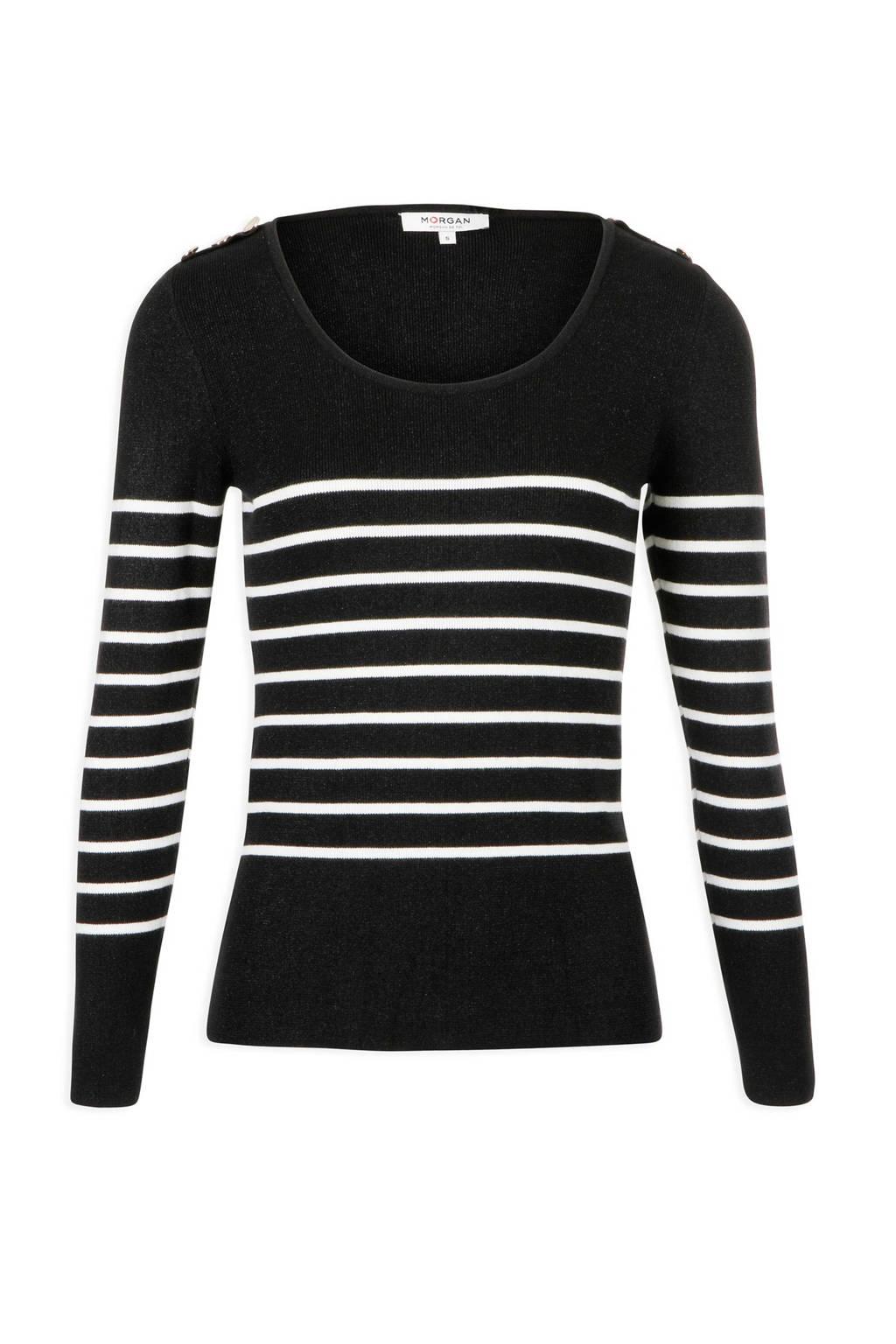 Morgan trui met strepen zwart, Zwart/wit