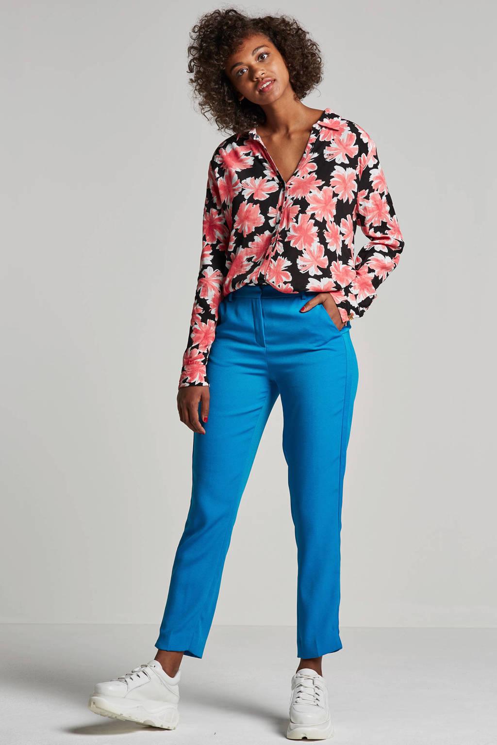 Fabienne Chapot Lily blouse met all over bloemenprint, Zwart/roze/wit