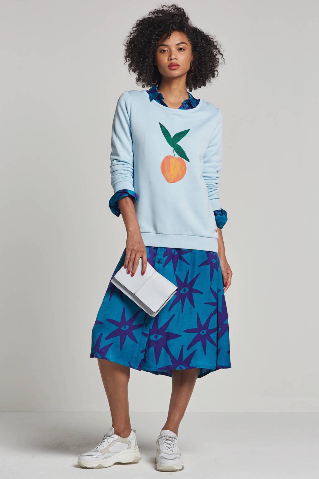 Fabienne Chapot Spring sweater met printopdruk, Lichtblauw