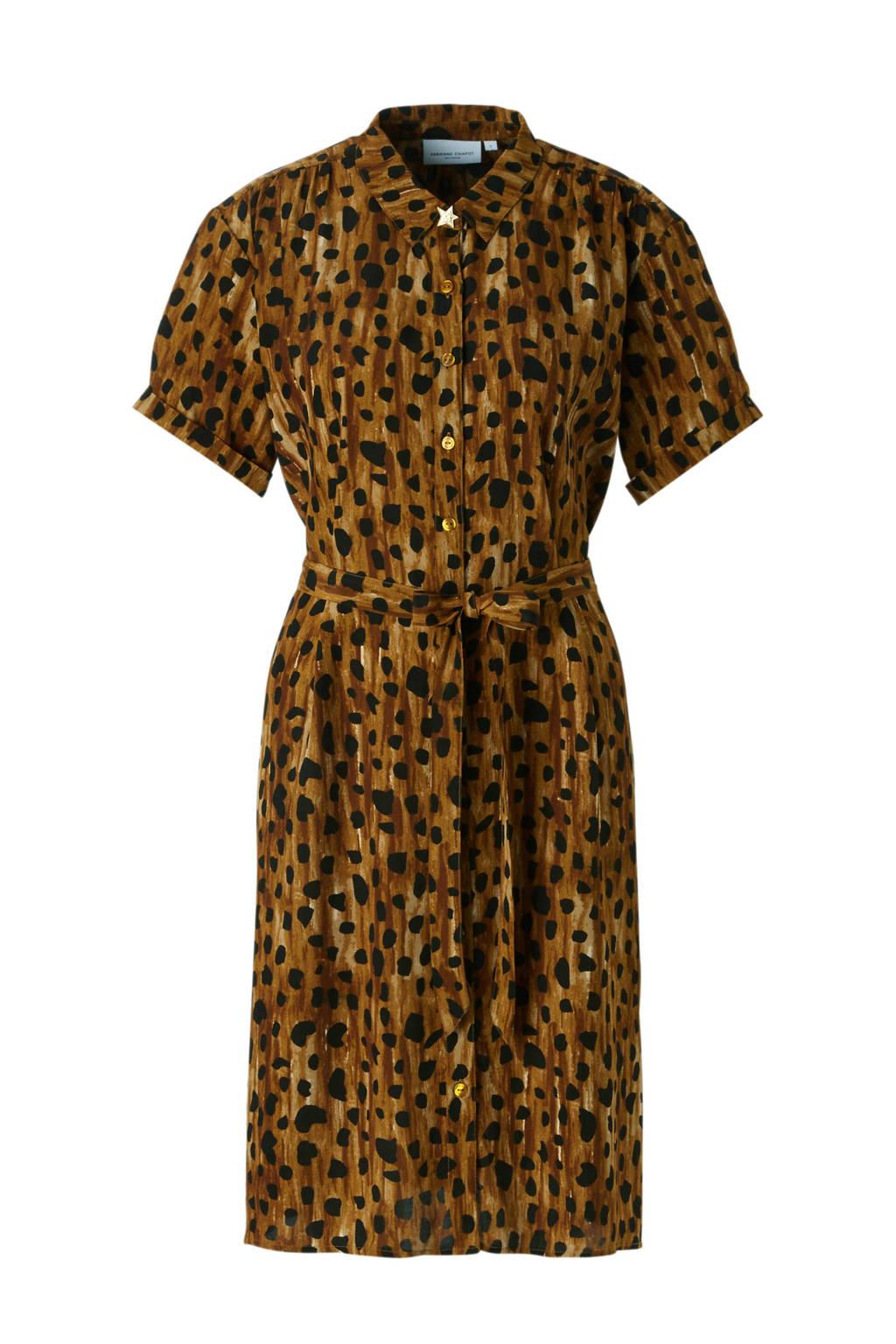 Fabienne Chapot Boyfriend jurk met cheetah print, Bruin/zwart