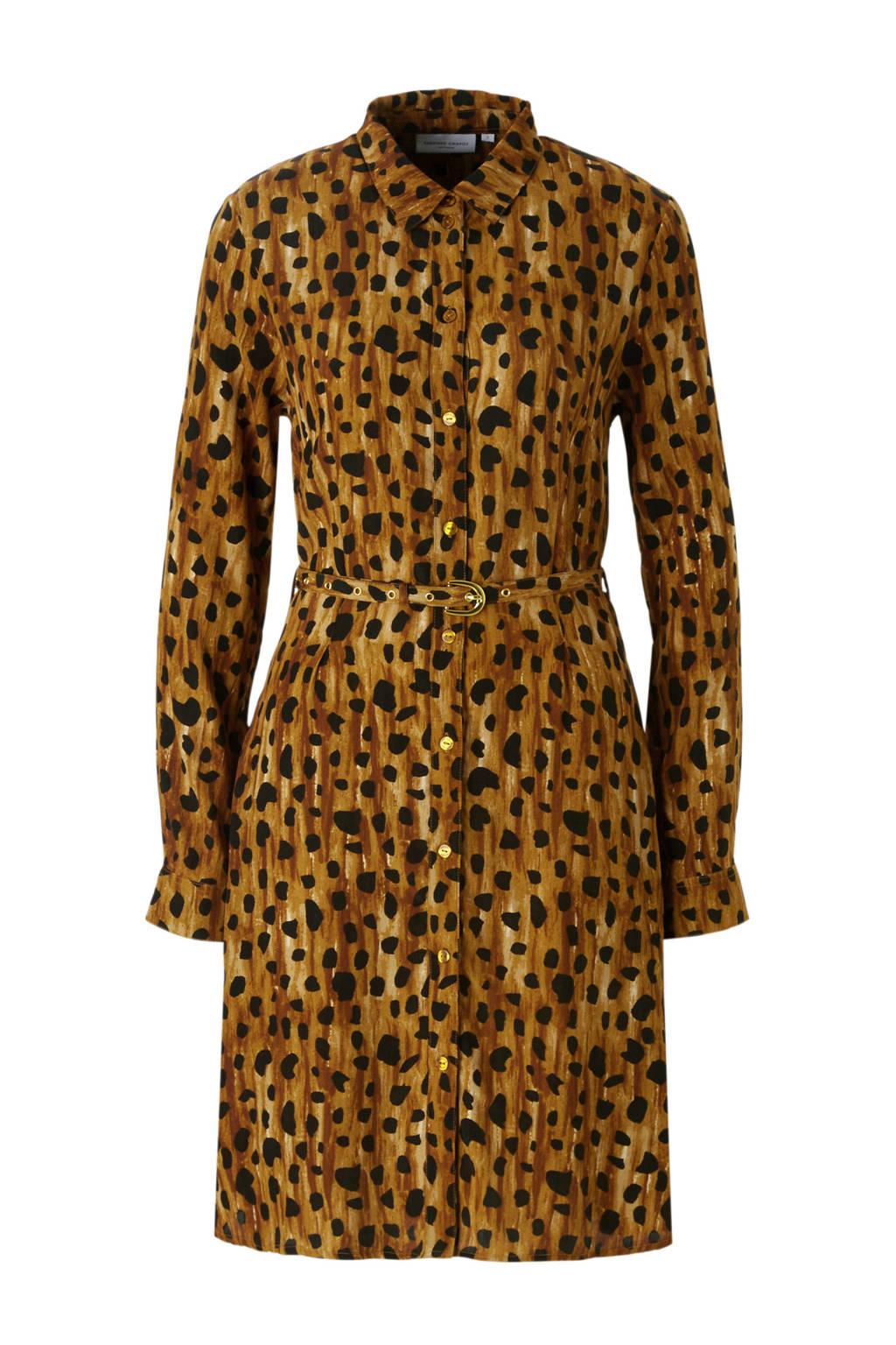 Fabienne Chapot Hayley rose jurk met cheetah print, Bruin/zwart