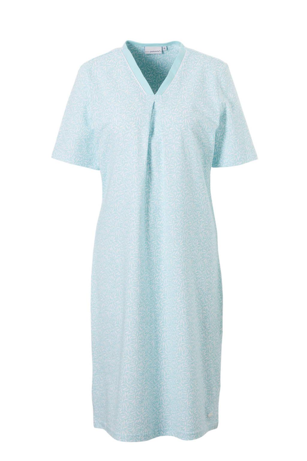Pastunette nachthemd in all over lichtblauw, Lichtblauw/wit
