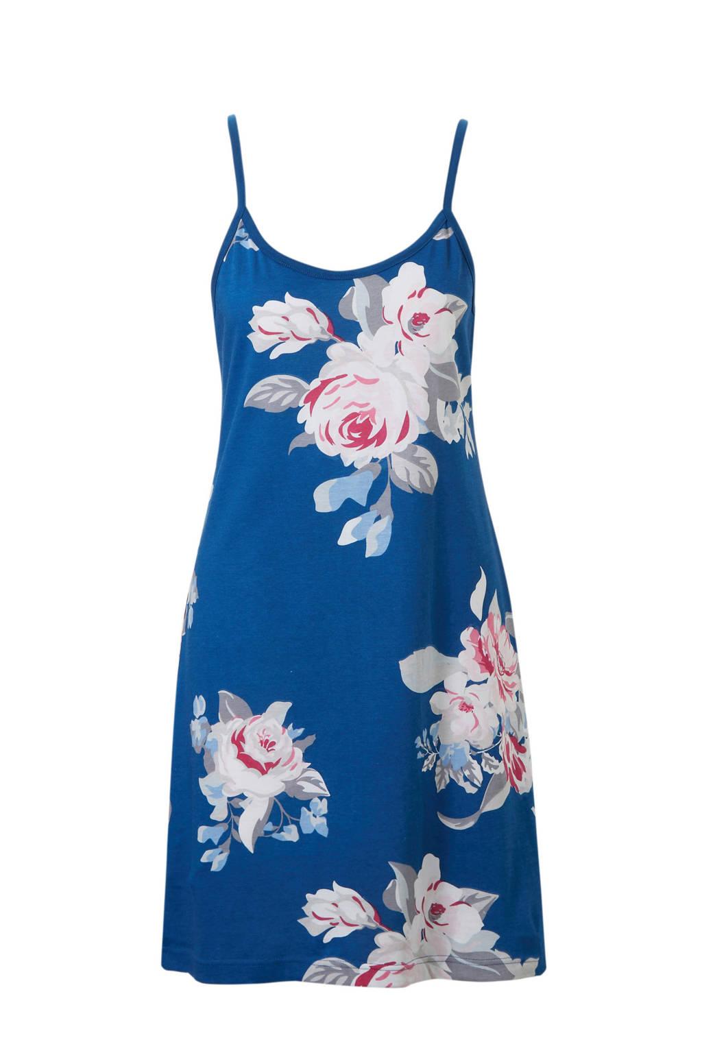 Pastunette slipdress in all over print blauw, Blauw/wit/roze