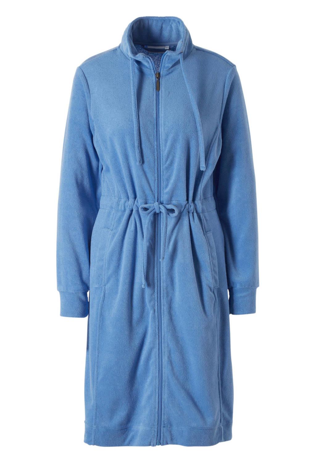 Pastunette badstof badjas met ritssluiting blauw, Blauw