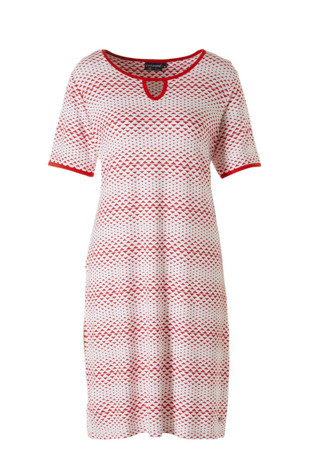 Pastunette nachthemd in all over print rood, Rood/wit